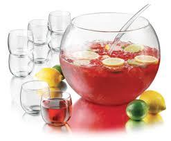 Punch bowl with ladle, glass 6 qt